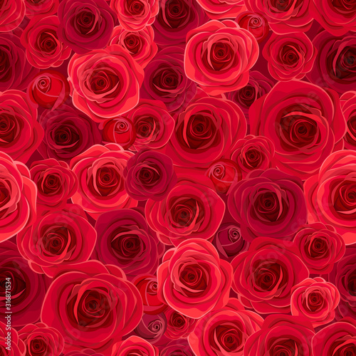 Vector seamless background with red roses. - 316871534