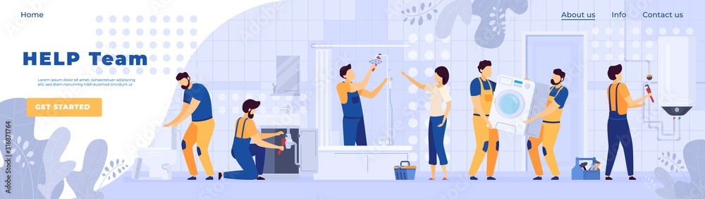 Fototapeta Repair service plumbers worker people in bathroom, vector illustration. Professional team of handymen, cartoon characters. Bathroom furniture installation, sanitary equipment maintenance. Plumber in