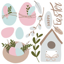 Digital Illustrates A Lovely Gentle Set In Pastel Pink, Beige Blue Tones For Easter. Eggs, Feathers, Nest, Bird House, Happy Easter Inscription. Print For Cards, Fabrics, Posters, Invitations.