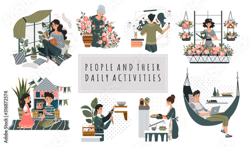 Fototapeta Everyday hobby activity cartoon people characters vector illustration. Leisure at home, pastime for men and women. People reading, painting, baking, gardening and playing. Set of everyday hobbies obraz