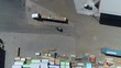 Flying Over Building Supplies Lumber Yard With Transport Trucks And Storage Aera Aerial View 002
