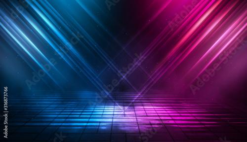 Obraz Wet asphalt, night view, neon reflection on the concrete floor. Night empty stage, studio. Dark abstract background. Product Showcase Spotlight Background. - fototapety do salonu