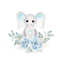 Baby Elephant With Blue Flowers And Leafage Hand Drawn Raster Illustration