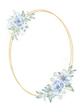 Double Oval Frame With Floral Elements Hand Drawn Raster Illustration