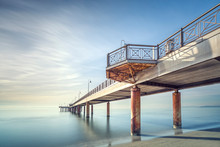 Pier Or Jetty, Beach And Sea In Marina Di Pietrasanta. Versilia Tuscany Italy