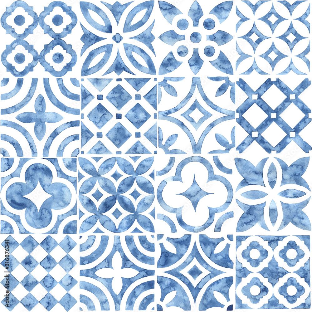 Seamless moroccan pattern. Square vintage tile. Blue and white watercolor ornament painted with paint on paper. Handmade. Print for textiles. Seth grunge texture.