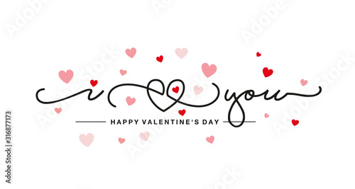 Cuadros en Lienzo I love You handwritten typography line design heart pink red hearts Happy Valent