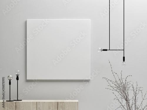 Fototapeta Mock up poster with minimalism background, 3d render 3d illustration obraz