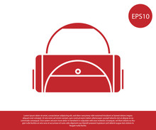 Red Sport Bag Icon Isolated On...
