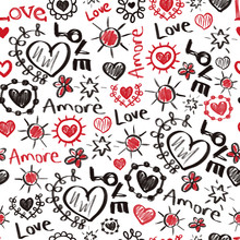 Seamless Pattern Valentines Doodles. Love Amore Scribbles Hearts, Stars Lettering In Red And Black. Repeating Hand Drawn Background. Sketches Of Love Symbols.