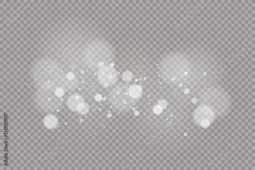 Obraz Dust white. White sparks and golden stars shine with special light. Vector sparkles on a transparent background. - fototapety do salonu
