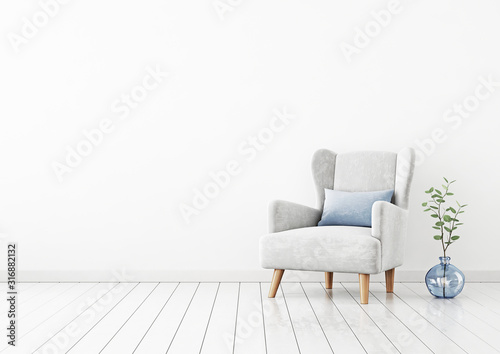 Photo Living room interior wall mockup with light gray velvet armchair, blue pillow and green plant branches in vase on empty white wall background