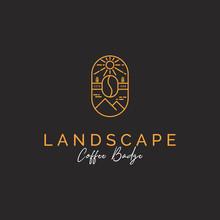 Mountain And Coffee Logo Badge...