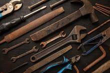 Vintage Old Tools On Steel Pl...