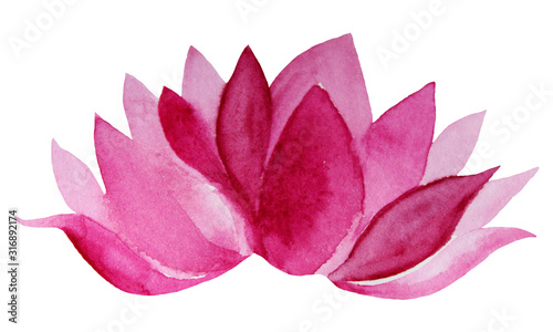 Fototapeta Watercolor hand-drawn pink flower lotus isolated on white background