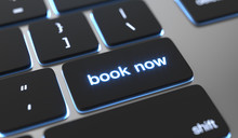 Book Now Text Written On Keyboard Button. Online Reservation Concept.