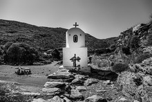 Greyscale Of A Small Chapel In...