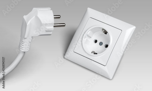 Fototapeta White electrical plug and the electric socket obraz