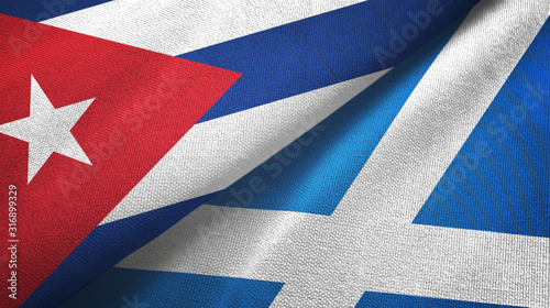 Cuba and Scotland two flags textile cloth, fabric texture Canvas Print