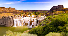 Scenic Panorama Of Shoshone Falls, Twin Falls, Idaho, USA