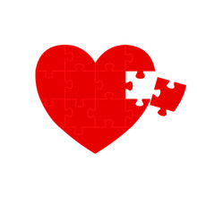 Heart Shaped Jigsaw Red Vector