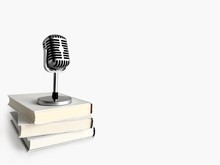 Retro Microphone Stand On Books. Podcast And Audio Book Concept On Light Gray Background.