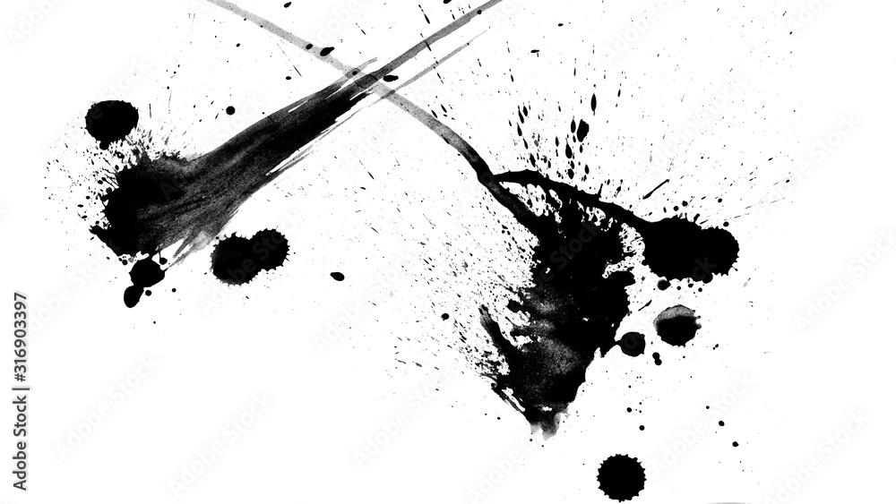 Fototapeta Texture abstract japanese ink on white paper Background for web,game design, design cover, presentation, invitation, flyer, poster, Dark Smear , wallpaper , Grunge mud art