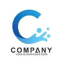 Wave Letter C Logo Vector, Oce...
