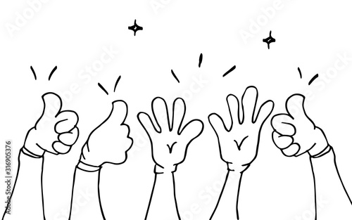 Obraz hand drawn of hands clapping ovation. applause, thumbs up gesture on doodle style , vector illustration - fototapety do salonu