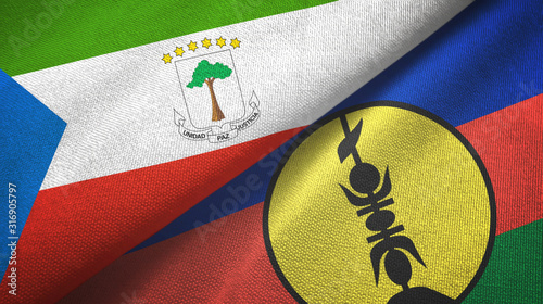 Cuadros en Lienzo Equatorial Guinea and New Caledonia two flags textile cloth, fabric texture