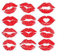 Lipstick Kiss Print Isolated V...