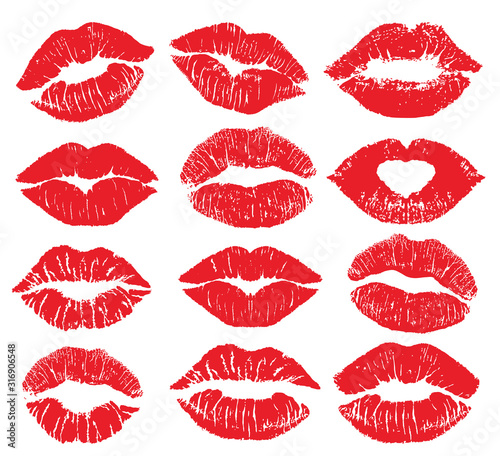 Lipstick kiss print isolated vector big set Tablou Canvas