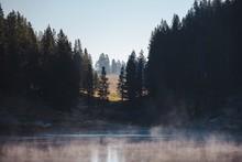 Scenery Of A Frozen Lake Surro...