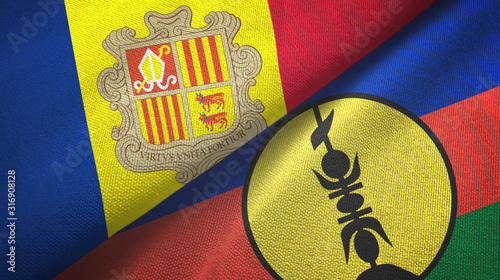 Photo Andorra and New Caledonia two flags textile cloth, fabric texture