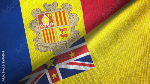 Photo Andorra and Niue two flags textile cloth, fabric texture