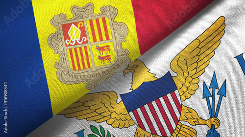 Andorra and Virgin Islands United States two flags textile cloth, fabric texture Wallpaper Mural