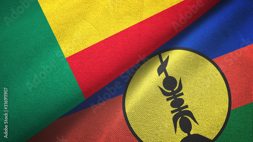 Fotografie, Tablou  Benin and New Caledonia two flags textile cloth, fabric texture