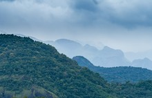 High Angle Shot Of The Forest Of Western Ghats, Kanyakumari District, India Covered With Fog