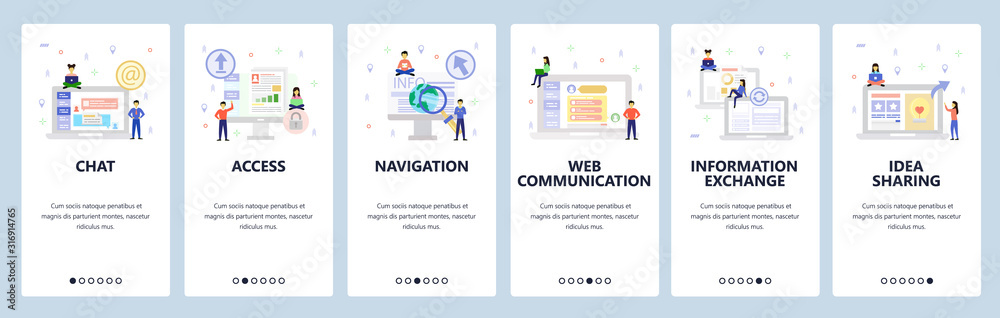 Fototapeta Online chat and web support, secure access, communication and shate information. Mobile app onboarding screens. Menu vector banner template for website and mobile. Web site design flat illustration