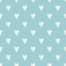 Heart Seamless Pattern With Hand Drawn Elements. Repeated Design Great For Valentines Day, Birthday Wrapping, Scrapbooking Paper And Wedding Banner. Vector