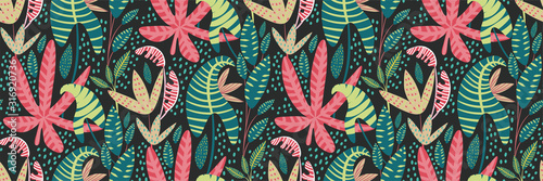 Vector seamless tropical pattern, colorful tropic foliage, palm leaves, paradise plants. Creative bright summer print design in a hand-drawn style. Exotic jungle background, fashion print, wallpaper.
