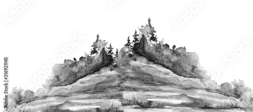 Watercolor picture of mountains, rocks, peaks. Coniferous forest, pine, spruce, fir, cedar. Black silhouettes. Abstract vintage spots of black, white. Postcard, logo, poster. Splash of paint.Mountain