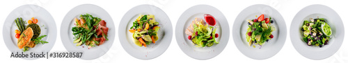 set of fresh salads isolated on white Fototapet