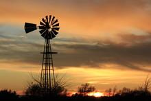 Windmill At Sunset In Kansas W...