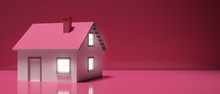 House Miniature Illuminated Against Pink Background. 3d Illustration