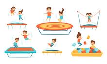 Little Kids Jumping On Trampoline Vector Illustrations Set. Smiling Children Having Fun Outdoors