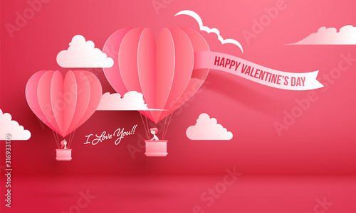Платно Cute Boy saying I Love You to His Girlfriend flying from Hot Air Balloon in Paper Cut for Happy Valentine's Day