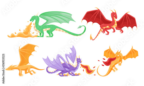 Fairy Dragons with Open Wings Shooting out Flames Vector Set Wallpaper Mural