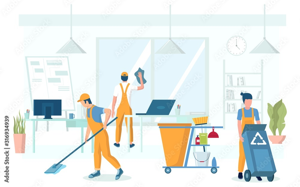 Fototapeta Professional office cleaning services vector concept illustration