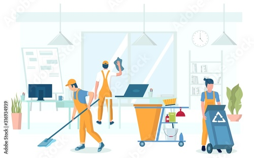 Obraz Professional office cleaning services vector concept illustration - fototapety do salonu
